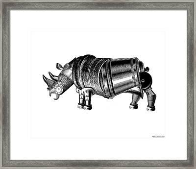 Steampunk Rhinoceros Framed Print by Eric Edelman
