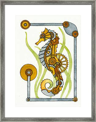 Steampunk Seahorse Framed Print by Nora Blansett