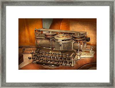 Steampunk - The History Of Typing Framed Print by Mike Savad