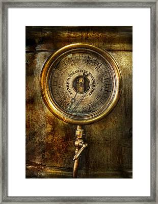 Steampunk - The Pressure Gauge Framed Print by Mike Savad