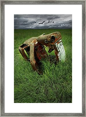 Steel Auto Carcass With Vultures Framed Print by Randall Nyhof