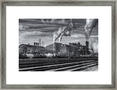 Steel Mill And Freight Yard Iv Framed Print by Clarence Holmes