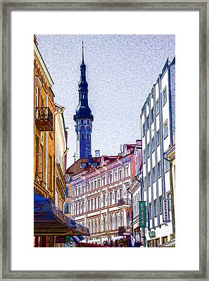 Steeple - Tellin Estonia Framed Print by Jon Berghoff
