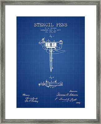 Stencil Pen Patent From 1877 - Blueprint Framed Print by Aged Pixel