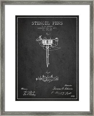 Stencil Pen Patent From 1877 - Charcoal Framed Print by Aged Pixel