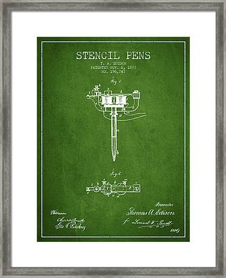 Stencil Pen Patent From 1877 - Green Framed Print by Aged Pixel