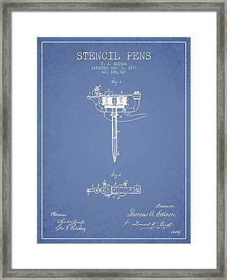 Stencil Pen Patent From 1877 - Light Blue Framed Print by Aged Pixel