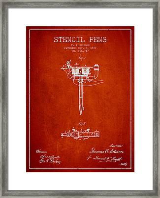 Stencil Pen Patent From 1877 - Red Framed Print by Aged Pixel