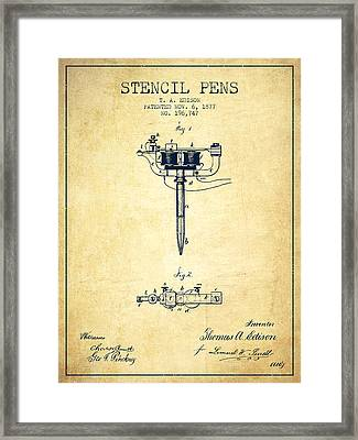 Stencil Pen Patent From 1877 - Vintage Framed Print by Aged Pixel