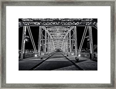 Step Under The Steel Framed Print by CJ Schmit