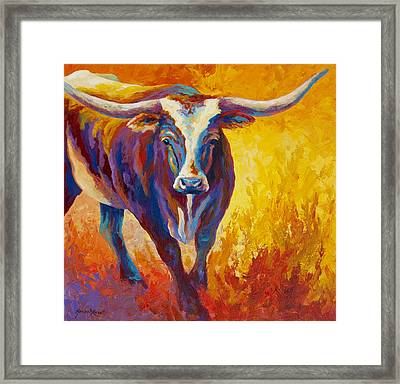 Stepping Out - Longhorn Framed Print by Marion Rose