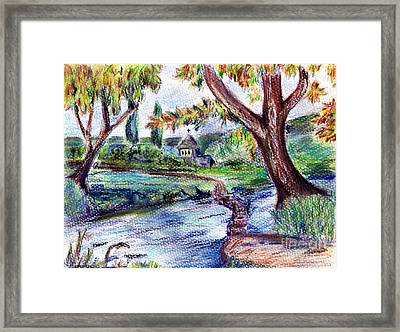 Stepping Stones In Blues Framed Print by Madeline Moore
