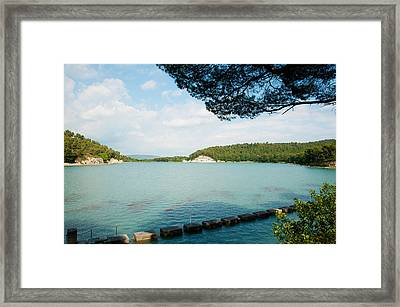 Stepping Stones In The Reservoir, Canal Framed Print by Panoramic Images