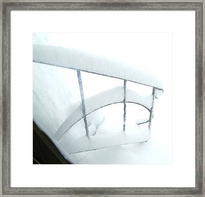 Steps Covered In Snow Framed Print by Mike McCool