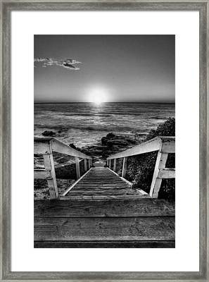 Steps To The Sun  Black And White Framed Print by Peter Tellone