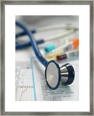 Stethoscope And Paperwork Framed Print by Tek Image