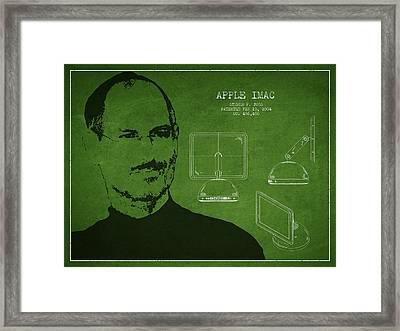 Steve Jobs Imac  Patent - Green Framed Print by Aged Pixel