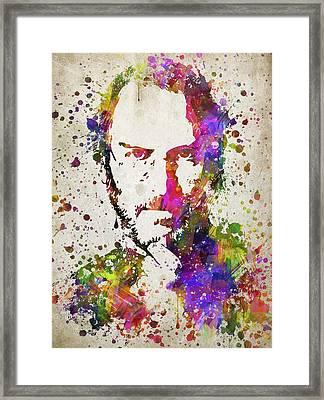Steve Jobs In Color Framed Print by Aged Pixel