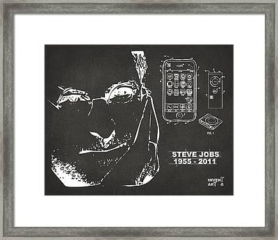 Steve Jobs Iphone Patent Artwork Gray Framed Print by Nikki Marie Smith