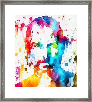 Steve Jobs Paint Splatter Framed Print by Dan Sproul