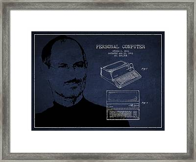 Steve Jobs Personal Computer Patent - Navy Blue Framed Print by Aged Pixel