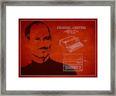 Steve Jobs Personal Computer Patent - Red Framed Print by Aged Pixel