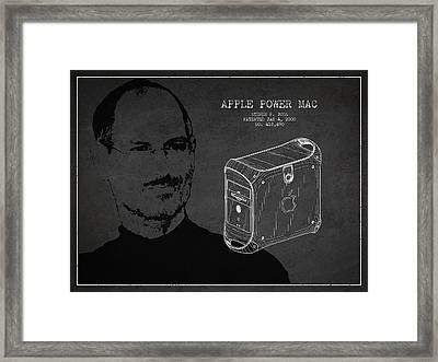 Steve Jobs Power Mac Patent - Dark Framed Print by Aged Pixel