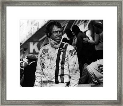 Steve Mcqueen In Racing Gear Framed Print by Retro Images Archive