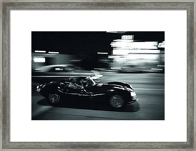 Steve Mcqueen Jaguar Xk-ss On Sunset Blvd Framed Print by Georgia Fowler