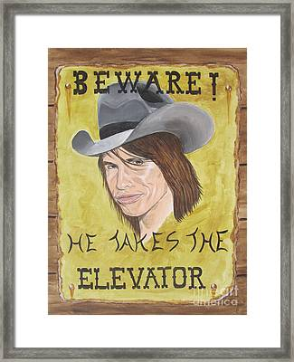 Steven Tyler As A Cowboy Framed Print by Jeepee Aero
