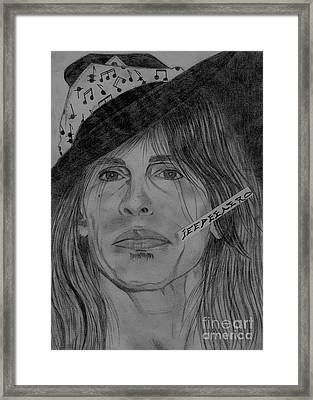 Steven Tyler Portrait Drawing Framed Print by Jeepee Aero
