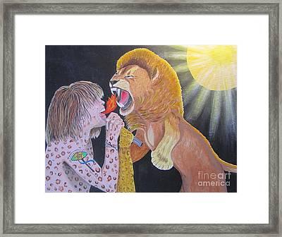 Steven Tyler Versus Lion Framed Print by Jeepee Aero