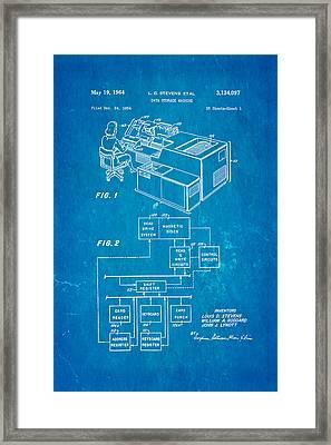 Stevens Data Storage Machine Patent Art 1964 Blueprint Framed Print by Ian Monk