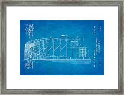 Stevens Roller Coaster Patent Art  2 1884 Blueprint Framed Print by Ian Monk
