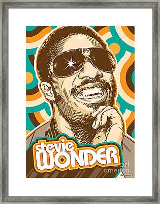 Stevie Wonder Pop Art Framed Print by Jim Zahniser
