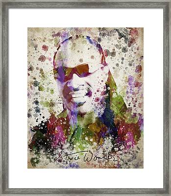 Stevie Wonder Portrait Framed Print by Aged Pixel
