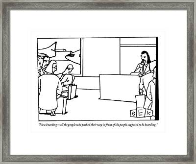 Stewardess Giving Directions To People Who Framed Print by Bruce Eric Kaplan