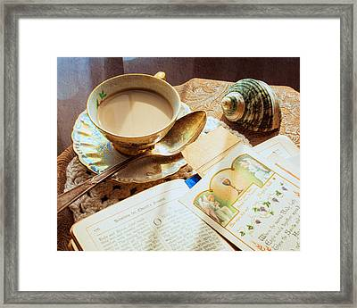 Still Life - Teacup Shell And Devotions Framed Print by Jon Woodhams