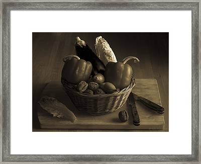 Still Life For A Vegetarian In Monochrome Framed Print by Julis Simo
