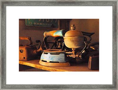 Still Life Of An Old Steam Iron Framed Print by Jeff Swan