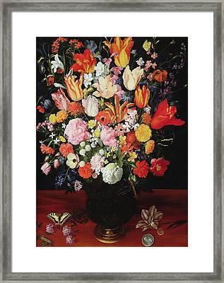 Still Life Of Flowers Framed Print by Kasper or Gaspar van den Hoecke