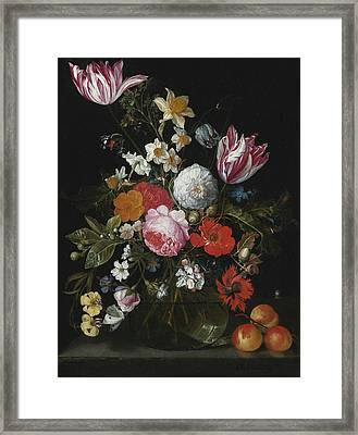 Still Life Of Flowers In A Glass Vase Framed Print by Celestial Images