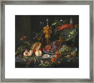 Still Life Of Fruits  Nuts Framed Print by Celestial Images
