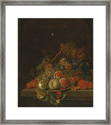 Still Life Of Peaches Framed Print by Celestial Images