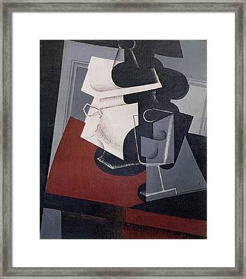 Still Life On A Table, 1916 Oil On Canvas Framed Print by Juan Gris