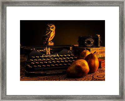 Still Life - Pears And Typewriter Framed Print by Jon Woodhams