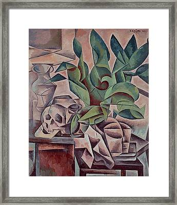 Still Life Showing Skull Framed Print by Kubista Bohumil