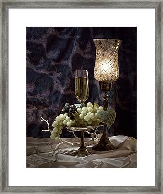 Still Life Wine With Grapes Framed Print by Tom Mc Nemar