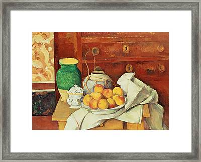 Still Life With A Chest Of Drawers Framed Print by Paul Cezanne