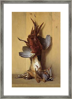 Still Life With A Hare, A Pheasant And A Red Partridge Framed Print by Jean-Baptiste Oudry